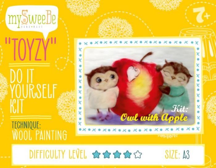 ToyzyKit Картина шерстью Совушки с яблоком