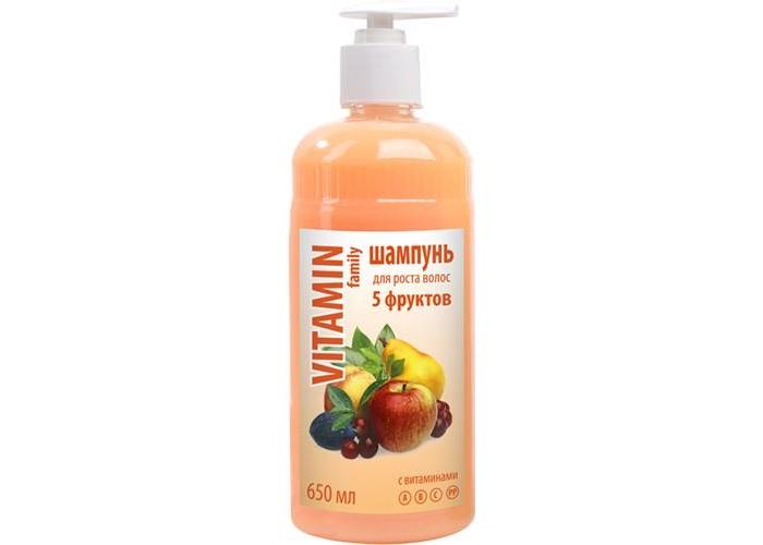 Vitamin Шампунь 5 фруктов 650 млШампунь 5 фруктов 650 млVitamin Шампунь 5 фруктов 650 мл для роста волос.  Особенности: Мягко ухаживает за волосами, делая их эластичными и прочными, предотвращая ломкость и сечение кончиков.  Идеально подходит для ослабленных волос.  Стимулирует рост волос.<br>