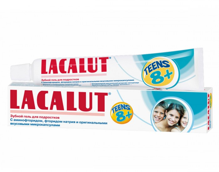 Lacalut Зубной гель Teens 8+ лет 50 млЗубной гель Teens 8+ лет 50 млЗубная паста Lacalut Teens 8+ лет 50 мл. С оригинальным цитрусово-мятным вкусом, заключенным в микрокапсулы. Защищает зубы от кариеса.  Подростки обращают внимание на все новое, высокотехнологичное. Именно для них была разработана зубная паста Lacalut Teens от 8 до 12 лет.  Эта необычная паста в виде прозрачного геля с оригинальными вкусовыми микрокапсулами. Должно же быть у взрослого ребенка что-то свое, необычное и особенное! Подросток с удовольствием будет пользоваться пастой «не как у всех» – и не просто пастой, а уникальным гелем. Паста рассчитана на подростков с уже сформировавшимися постоянными зубами, помогает не только заботиться о зубах, но и делать это с удовольствием.  Бережное и полное очищение молодой эмали обеспечивается активным соединением фтора – аминофторидом, а сам гель не содержит сахара и обладает оригинальным цитрусово-мятным вкусом. Повышенная концентрация фтора (1400 ppm) обеспечивает действенный антикариозный эффект за счет активного насыщения эмали минералами.<br>