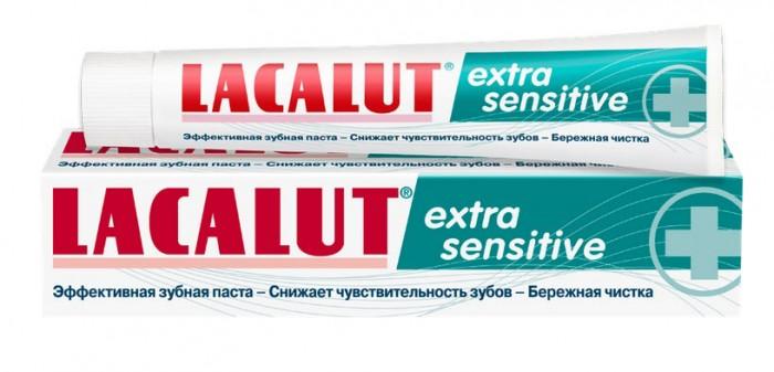Lacalut Зубная паста Extra Sensitive 50 млЗубная паста Extra Sensitive 50 млПрофилактическая зубная паста Lacalut Extra Sensitive. Быстрое и эффективное снижение чувствительности зубов. Бережная чистка.  Способствует быстрому снижению чувствительности зубов (хлорид калия, ацетат стронция), укрепляет десны (лактат алюминия), контролирует образование зубного налета (хлоргексидин), предупреждает развитие кариеса (олафлур, фторид натрия).  Показания: повышенная чувствительность зубов. Комплексная защита полости рта.  Активные компоненты хлорид калия ацетат стронция лактат алюминия хлоргексидин олафлур фторид натрия  Каждый третий хотя бы один раз сталкивался с проблемой чувствительности зубов. Каждый десятый страдает от повышенной чувствительности зубов постоянно. Но только половина из них постоянно пользуется пастой для чувствительных зубов. Повышенная чувствительность зубов, безусловно, раздражает всех, но у большинства людей не хватает времени серьезно заняться этой проблемой, т.к. есть более важные. Тогда на помощь приходит зубная паста Lacalut Extra Sensitive.  Особенность зубной пасты Lacalut Extra Sensitive заключается в том, что ее свойства можно почувствовать сразу же после применения. Хлорид калия и ацетат стронция, входящие в состав пасты, моментально блокируют открытые дентинные канальцы, тем самым препятствуя проводимости нервного импульса и уменьшая чувствительность зубов.<br>