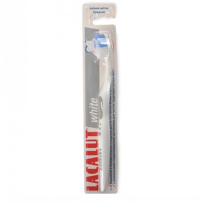 Lacalut Зубная щетка WhiteЗубная щетка WhiteЗубная щетка Lacalut White - для белизны Ваших зубов.  Бережное и основательное очищение для естественно белых и крепких зубов, с уникальными спиралевидными щетинками для чистки труднодоступных мест.  Благодаря щетине Tynex® с закругленными и полированными кончиками, она деликатно удаляет окрашенный налет. Наличие микротвистерной щетины по бокам обеспечивает эффективное и бережное осветление эмали, делая Вашу улыбку белоснежной!   Цвета в ассортименте.<br>