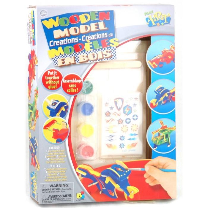 Конструктор Bojeux (Bj) Набор для создания деревянных моделейНабор для создания деревянных моделейНабор для создания деревянных моделей для детей от 6 лет.   В набор входят: 3 листа с вырубленными деталями, кисть, 4 цвета краски, лист переводных картинок, деревянная палочка.  Инструкция: Смотрите рисунки с соответствующими номерами в инструкции.<br>