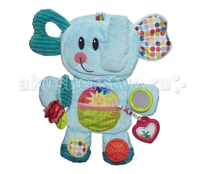 Развивающая игрушка Playskool Веселый СлоникВеселый СлоникРазвивающая игрушка Playskool Веселый Слоник возьми с собой выполненная в виде забавного и очень симпатичного слоника.   Слоник изготовлен из материалов разных текстур и цветов, что позволяет разнообразить тактильные, звуковые и визуальные ощущения ребенка, развивать ловкость пальчиков и логическое мышление. Игрушка имеет шуршащие и гремящие элементы, прорезыватель для зубок и маленькое безопасное зеркальце.  Как и все игрушки Плэйскул серии «Возьми с собой», слоник складывается в несколько раз, уменьшаясь в размере до 3 раз, поэтому игрушку удобно брать с собой в гости или в путешествие.  Все материалы, использованные при изготовлении игрушки, совершенно безопасны для детского здоровья.<br>