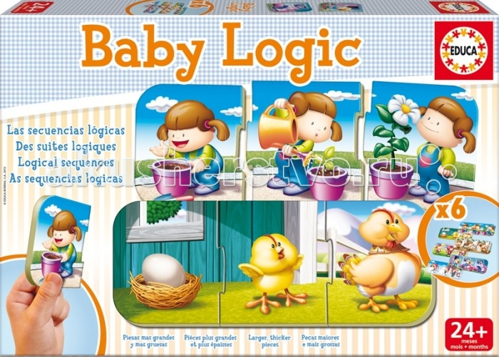 Educa Игра-пазл ЛогикаИгра-пазл ЛогикаИгра-пазл Логика.   Найди связь между картинками,выстроив логическую цепочку: яйцо - цыпленок - курица. Коллекция Baby Educa стимулирует внимательность, развивает психомотрику, любопытство и воображение.   Ребенку предстоит сформировать последовательность между картинками, выстроив логическую цепочку, например: яйцо - цыпленок - курица.  Игра-пазл Логика обязательно привлечет внимание вашего малыша и поднимет настроение жизнерадостными образами!   Комплект включает в себя 18 элементов, с помощью которых ребенок сможет собрать шесть логических картинок.   Пазлы собираются из трех элементов.  Благодаря прочному материалу детали пазлов легко крепятся между собой, а крупный размер деталей будет удобен для маленьких ручек малыша.  Игра-пазл Логика поможет ребенку в развитии логического мышления, воображения, памяти и мелкой моторики рук.<br>
