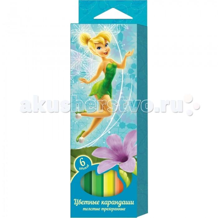 Disney Цветные карандаши толстые Феи 6 цветов