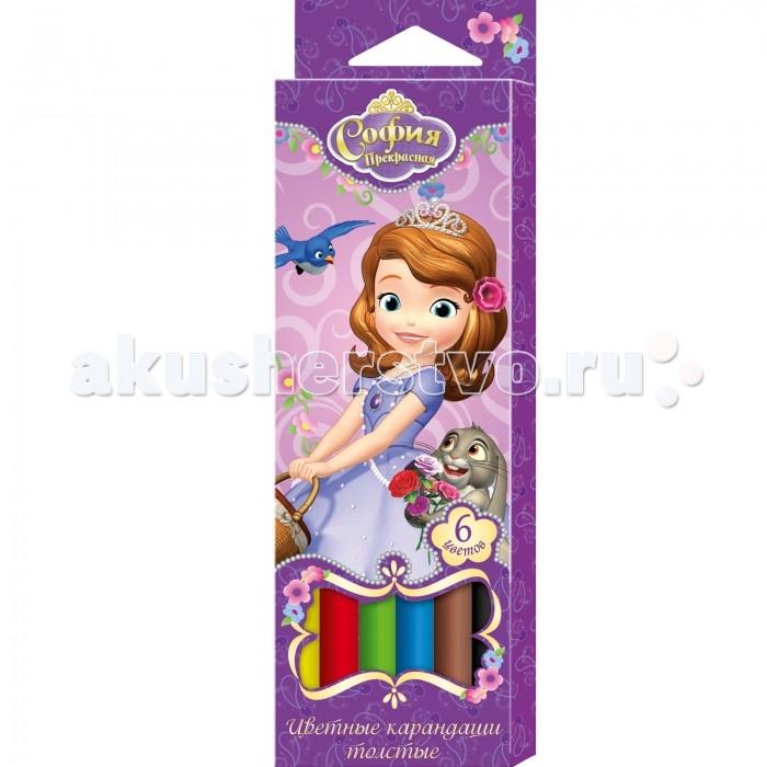 Disney Цветные карандаши толстые София Прекрасная 6 цветов