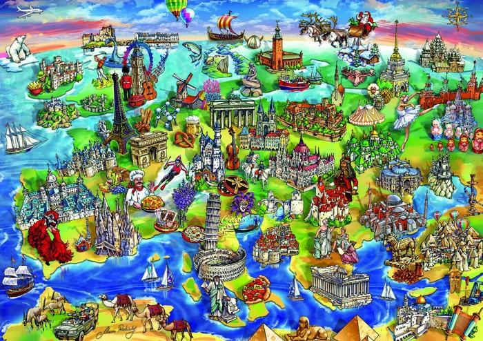 Educa Пазл Европейский мир 1000 деталейПазл Европейский мир 1000 деталейПазл Европейский мир состоит из 1000 деталей.  Размер собранной картинки: 68*48 см.  Правила игры: вскрыть упаковку и собрать игру по картинке.  Не давать детям до 3-х лет из-за наличия мелких деталей.  В комплект входит сухой клей.<br>