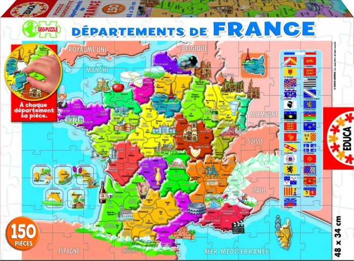 Educa Пазл Департаменты Франции 150 деталейПазл Департаменты Франции 150 деталейПазл 150 деталей Департаменты Франции.  Игра способствует развитию мелкой моторики, логики, мышлению, концентрации внимания, усидчивости ребенка.  Размер: 48х34 см.  В комплект входит сухой клей.<br>