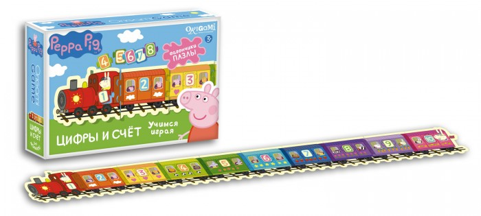 Origami Peppa Pig Настольная игра Паровозик Цифры и СчетPeppa Pig Настольная игра Паровозик Цифры и СчетOrigami Peppa Pig Настольная игра Паровозик Цифры и Счет. Обучающий набор Паровозик: Цифры и Счет поможет вашему ребенку в игровой форме запомнить значения цифр.   Соединяйте цветные вагончики между собой соблюдая порядок цифр от 1 до 10.   Все элементы снабжены пазловыми замками, которые помогут правильно собрать паровозик.<br>