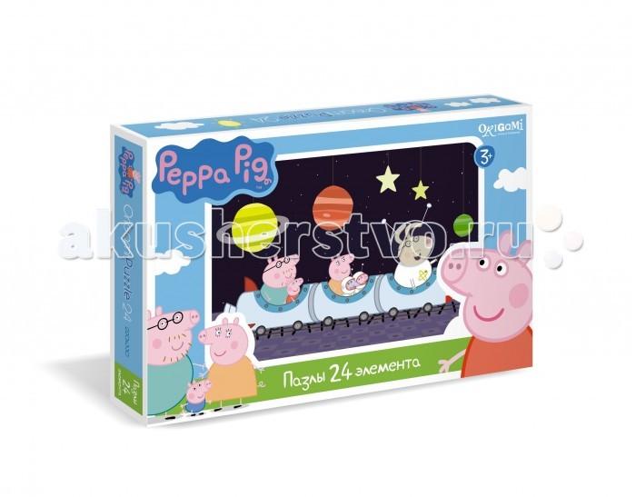 Origami Peppa Pig Пазл (24 элемента)Peppa Pig Пазл (24 элемента)Origami Peppa Pig Пазл (24 элемента). Пазл Peppa Pig на 24 детали. Пазл за пазлом ребёнок будет узнавать о весёлых приключениях Свинки Пеппы.   Составление пазла станет развивающим досугом для малыша, т.к. тренирует пространственное мышление, моторику рук, а так же подарит хорошее настроение.<br>