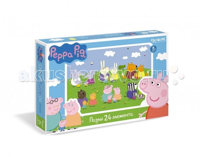 Origami Peppa Pig Пазл 01570 (24 элемента)Peppa Pig Пазл 01570 (24 элемента)Origami Peppa Pig Пазл 01570 (24 элемента). Пазл Peppa Pig на 24 деталей. Пазл за пазлом ребёнок будет узнавать о весёлых приключениях Свинки Пеппы.   Составление пазла станет развивающим досугом для малыша, т.к. тренирует пространственное мышление, моторику рук, а так же подарит хорошее настроение.<br>