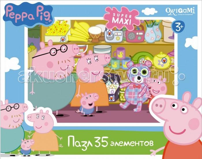 Origami Peppa Pig Пазл Магазин игрушек (35 элементов)Peppa Pig Пазл Магазин игрушек (35 элементов)Origami Peppa Pig Пазл Магазин игрушек (35 элементов). Пазл Peppa Pig на 35 деталей специально сделан для маленьких детей.   Каждый пазл в этой серии имеет свою тематику, собери всю коллекцию! Пазл за пазлом ребёнок будет узнавать о весёлых приключениях Свинки Пеппы.   Составление пазла станет развивающим досугом для малыша, т.к. тренирует пространственное мышление, моторику рук, а так же подарит хорошее настроение.<br>