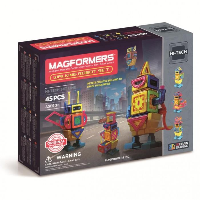Конструктор Magformers Walking RobotWalking RobotМагнитный конструктор Magformers Walking Robot 63137  Особенность набора Magformers Walking Robot в том, что кроме стандартных деталей в него входят новые аксессуары — двигатель, пульт включения и блок для передвижения.  Из 45 ярких деталей магнитного конструктора от Magformers можно собрать потрясающих воображение роботов. Для сборки не понадобятся инструменты, так как детали соединяются посредством магнитного притяжения. Из красочных элементов можно собрать несколько видов роботов, причем это будут шагающие дроиды! Соединив детали нужным образом и внедрив в робота двигатель и блок для передвижения, а затем воспользовавшись пультом управления, ребенок с восторгом будет наблюдать за тем, как уверенно вышагивает его творение.<br>