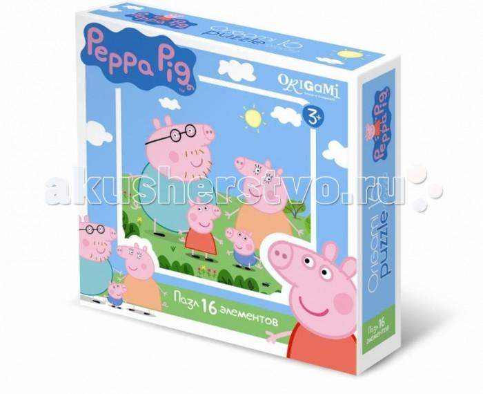 Origami Peppa Pig Пазл 01576 (16 элементов)Peppa Pig Пазл 01576 (16 элементов)Origami Peppa Pig Пазл 01576 (16 элементов). Пазл Peppa Pig на 16 деталей. Пазл за пазлом ребёнок будет узнавать о весёлых приключениях Свинки Пеппы.   Составление пазла станет развивающим досугом для малыша, т.к. тренирует пространственное мышление, моторику рук, а так же подарит хорошее настроение.<br>