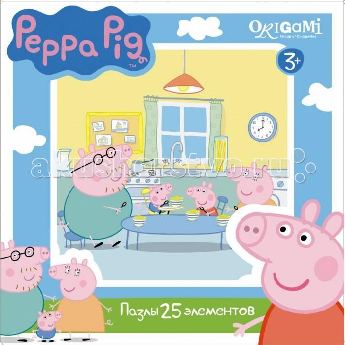 Origami Peppa Pig Пазл 01581 (25 элементов)Peppa Pig Пазл 01581 (25 элементов)Origami Peppa Pig Пазл 01581 (25 элементов). Пазл Peppa Pig на 25 деталей. Пазл за пазлом ребёнок будет узнавать о весёлых приключениях Свинки Пеппы.   Составление пазла станет развивающим досугом для малыша, т.к. тренирует пространственное мышление, моторику рук, а так же подарит хорошее настроение.<br>