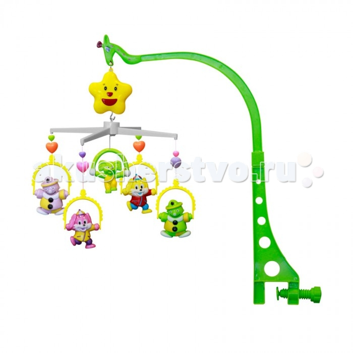 Мобиль Bertoni (Lorelli) КлоуныКлоуныМобиль Клоуны - это яркая музыкальная каруселька на кроватку, с которой малыш никогда не будет скучать. Симпатичные игрушки, медленное вращение игрушек, приятная музыка - вот отличительные черты этой игрушки.  Особенности: музыкальное сопровождение карусельки ребенок учится следить за подвесными игрушками у малыша активно и в максимально естественной форме развивается зрение кроха получает представление о пространственном положении предметов музыкальное сопровождение развивает слух ребенка разно-фактурные элементы помогут развить мелкую моторику и сенсорику<br>