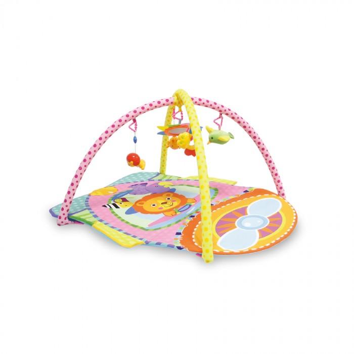 Развивающий коврик Bertoni (Lorelli) СамолетСамолетКонструкция легко собирается и переносится. Очень комфортный, яркий и красочный.   Яркий развивающий коврик  Выполнен из разных по фактуре материалов В комплекте имеется две дуги, на которые крепятся 4 разных по структуре игрушки и 1 мягкая с небьющимся зеркальцем Игрушки крепятся на дуги с помощью колец, благодаря чему их можно спокойно снимать и использовать как отдельные игрушки Обе дуги также съёмные, поэтому коврик можно легко складывать и транспортировать Развивает тактильное, звуковое и цветовое восприятия, координацию движений и мелкую моторику рук с самого рождения Материал: текстиль  Упаковка - прозрачная пластиковая сумочка с ручкой.  Размеры: 96х97 см.<br>