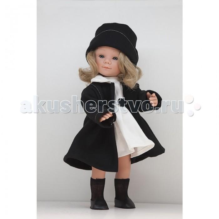 Dnenes/Carmen Gonzalez Кукла Мариэтта в белом платье и классическом пальто 34 смКукла Мариэтта в белом платье и классическом пальто 34 смКукла Мариэтта в белом платье и классическом пальто 34 см.  Кукла одета в белое вельветовое платье и строгое черное пальто. У платья классический фасон, короткие рукава, воротник-стоечка и пышная юбка. Пояс платья украшен аппликацией из двух черных кружков.  В комплект входят белые трикотажные трусики и черные гольфы.  На ножках обуты аккуратные черные кожаные туфельки. Кукла не имеет запаха и обладает приятным тактильным эффектом.<br>