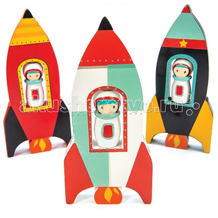 Деревянная игрушка LeToyVan Игрушка Звездный десантИгрушка Звездный десантИгрушка Звездный десант.  Деревянная космическая. Космонавт крутится вокруг своей оси.  Размеры игрушки 6,8х1,5 см, высота 14,7 см.<br>