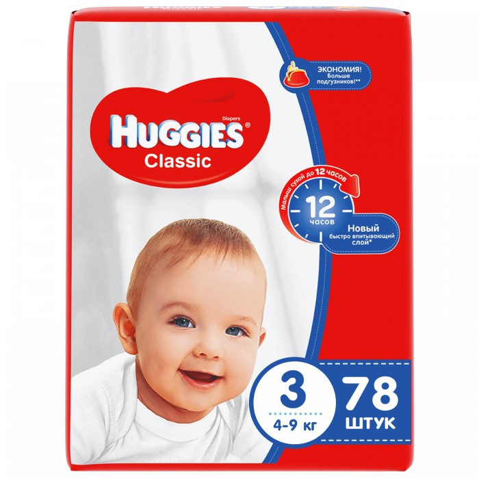Huggies Подгузники Classic Mega 2 (4-9 кг) 78 шт.