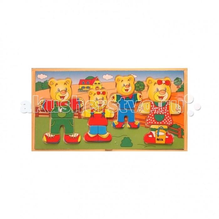 Деревянная игрушка Папа Карло Пазлы Мишуткина семья