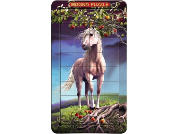 Magna 3D пазл портрет Лошадь3D пазл портрет ЛошадьMagna 3D пазл портрет Лошадь.  Красивая белоснежная лошадь на фоне яблони выглядит очень величественно и маняще, что её хочется погладить. Но это всего лишь реалистичный 3D-пазл. Стоит наклонить коробку, как вы сразу почувствуете аромат яблоневого сада и услышите стук копыт. Будет казаться, что можно протянуть руку и погладить мягкую длинную гриву этого доброго животного.  Собрать данный пазл достаточно сложно. Картинка на деталях меняется в зависимости от угла, под которым вы на нее смотрите. Ваша задача - соединить детали в правильном порядке и получить целостное изображение. Здесь понадобится терпение и внимательность! Пазл удобно собирается на крышке коробки, для сборки есть специальная выемка. На каждой части пазла имеется магнит, который без проблем притягивается в крышке от пазла для более удобной сборки.<br>