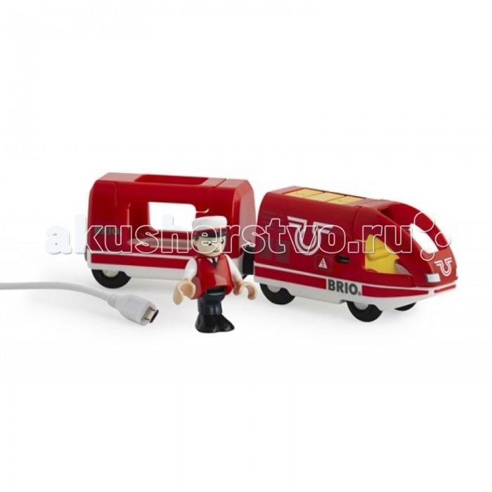 Brio Пассажирский поезд с USB подзарядкойПассажирский поезд с USB подзарядкойПассажирский поезд с USB подзарядкой.  Этот современный по дизайну поезд поставляется с USB кабелем для зарядки, поэтому конца веселью не будет. А машинист позаботится о том, что бы поезд прибывал и отправлялся вовремя. Тем более, что поезд может двигаться как вперед, так и назад, пульт управления находится на крыше локомотива.  Набор включает в себя: кабель USB, поезд с вагончиком, фигурку машиниста.<br>
