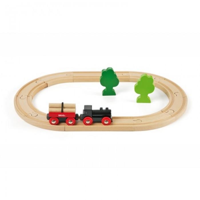 Brio Железная дорога с грузовым поездом, 18 элементовЖелезная дорога с грузовым поездом, 18 элементовЖелезная дорога с грузовым поездом, 18 элементов.  Классическая железная дорога с грузовым вагоном и фигурками деревьев. Паровозики без функций, для катания руками. Размер площадки 40 x 25,6 см. Длина железнодорожного полотна 96 см.  Набор включает: железнодорожное полотно, паровозик, грузовая платформа с грузом, 2 дерева.  Игрушка управляется вручную.<br>