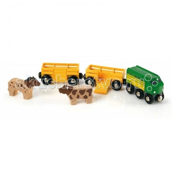 Brio Грузовой поезд с животными, 5 элементовГрузовой поезд с животными, 5 элементовГрузовой поезд с животными.  Лошадку и коровку нужно отвезти на пастбище. Помоги им взобраться в вагончики при помощи откидной лестницы. Животные не будут чувствовать себя в тесноте, ведь для каждого из них есть отдельный открытый вагончик.   Паровозик быстро доставит всех до места назначения.  Без механизмов.<br>