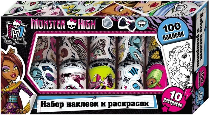 Monster High Наклейки и раскраски в коробке 23721Наклейки и раскраски в коробке 23721Monster High.Наклейки и раскраски в коробке (фиолетовая) это 10 страниц ярких наклеек с героями популярного мультфильма Monster High.  В наборе 100 наклеек, этими наклейками можно украсить комнату, тетради, игрушки, открытку или приглашение на праздники, на которых можно раскрасить любимых героинь и дополнить картинку красочными наклейками.<br>