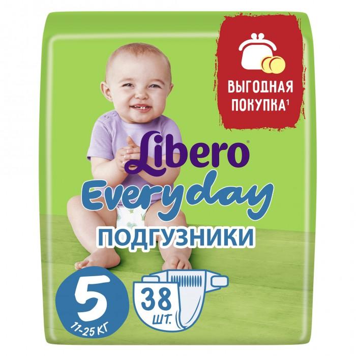 Libero Подгузники EveryDay с ромашкой (11-25 кг) 38 шт.Подгузники EveryDay с ромашкой (11-25 кг) 38 шт.Вес ребенка: 11-25 кг Кол-во в упаковке: 38 шт.  Подгузники Libero Everyday содержат натуральные ингредиенты ромашки и алоэ вера и не содержат ароматизаторов. Ромашка известна своим антисептическим и успокаивающм свойством. Алоэ обладает антибактериальным эффектом. Libero Everyday с экстрактом ромашки и алоэ вера. Естественная забота для самой нежной кожи. Без ароматизаторов.   внутренний слой, быстро впитывающий и удерживающий влагу внутри барьерчик вокруг ножек для защиты от протеканий.  тонкие  мягкий эластичный поясок для более комфортного прилегания  новый рисунок на подгузнике<br>