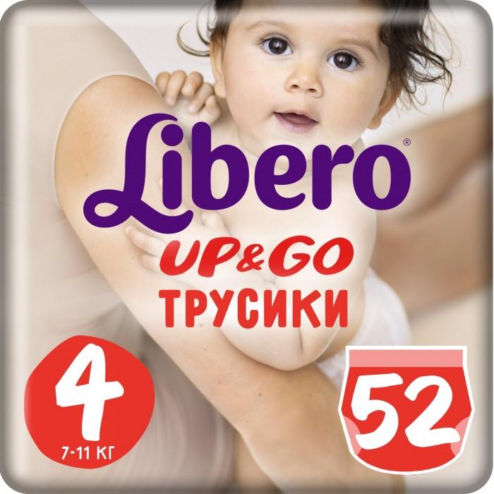 Libero Подгузники-трусики Up&amp;Go Mega Pack (7-11 кг) 50/52 шт.Подгузники-трусики Up&amp;Go Mega Pack (7-11 кг) 50/52 шт.Вес ребенка: 7-11 кг Кол-во в упаковке: 52 шт.  Подгузники-трусики предназначены для тех детей, которые учатся одеваться и раздеваться без помощи мамы.   Подгузники с невероятной легкостью снимаются и надеваются. Когда Ваш ребенок захочет в туалет, он без особых усилий сможет стащить их с себя, как обычное белье.   Как только подгузник становиться полным, нужно только разорвать боковые швы и он легко снимется.   Инновационный слой позволяет впитывать больше влаги, а высокие барьеры вокруг ног малыша оставят кожу сухой, не позволяя жидкости протекать. Теперь Вы можете не переживать о том, что нужно часто менять подгузники ночью или во время прогулки, теперь Ваш малыш защищен на долгое время.  В производстве подгузников-трусиков использовался материал, который позволяет коже дышать, защищая от потения. Предусмотрен специальный пояс, который обеспечивает улучшенную посадку трусиков.   Используя подгузники-трусики, Вы позволяете малышу заниматься своими делами, совершенно не замечая подгузников, которые не ограничивают его движения. Также предусмотрено удобное сворачивание подгузника, когда он становится негодным для использования, для это производители придумали клейкую ленту, расположенную сзади на подгузнике.  Внимание! Дизайн упаковки и самих трусиков зависит от поставки!<br>