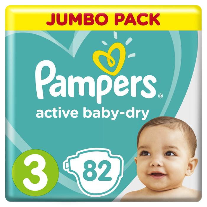 Pampers Подгузники Active Baby Dry Midi р.3 (5-9 кг) 82 шт.Подгузники Active Baby Dry Midi р.3 (5-9 кг) 82 шт.Ух ты, как сухо! А куда исчезли все пи-пи? Вы готовы к революции в мире подгузников? Как только вы начнете использовать Pampers active baby-dry, вы убедитесь, что они отличаются от наших предыдущих подгузников. Революционная технология помогает распределять влагу равномерно по 3 впитывающим каналам и запирать ее на замок, не допуская образование мокрого комка между ножек по утрам. Эти подгузники настолько удобные и сухие, что вы удивитесь, куда делись все пи-пи!  3 впитывающих канала: помогают равномерно распределить влагу по подгузнику, не допуская образование мокрого комка между ножек. Впитывающие жемчужные микрогранулы: внутренний слой с жемчужными микрогранулами, который впитывает и запирает влагу до 12 часов. Слой DRY: впитывает влагу и не дает ей соприкасаться с нежной кожей малыша. Мягкий, как хлопок, верхний слой: предотвращает контакт влаги с кожей малыша, для спокойного сна на всю ночь. Дышащие материалы: обеспечивают циркуляцию воздуха внутри подгузника. Тянущиеся боковинки: для комфортного использования и защиты от протеканий.  Вес ребенка: 5-9 кг Кол-во в упаковке: 82 шт<br>