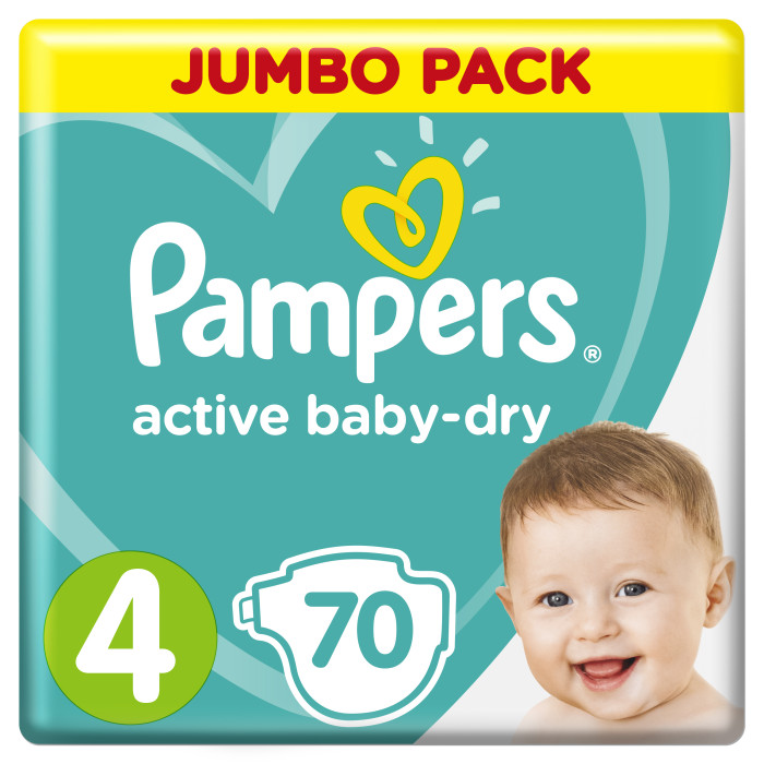 Pampers ���������� Active Baby Dry Maxi �.4 (7-14 ��) 70 ��.