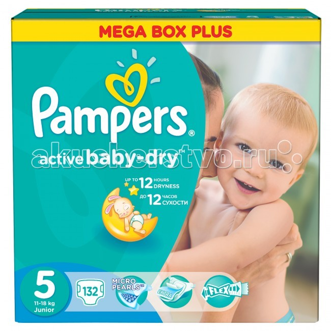 Pampers ���������� Active Baby Dry Junior �.5 (11-18 ��) 132 ��.