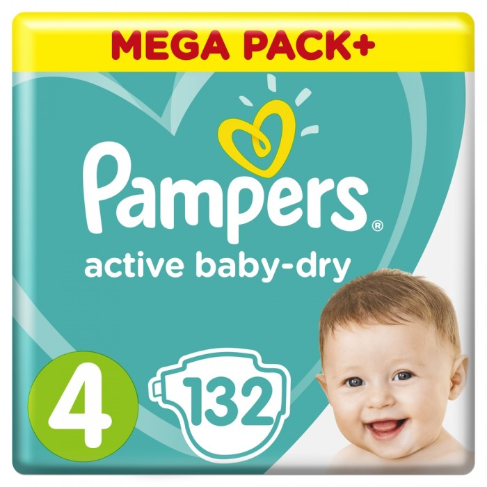 Pampers ���������� Active Baby Dry Maxi �.4 (7-14 ��) 132 ��.