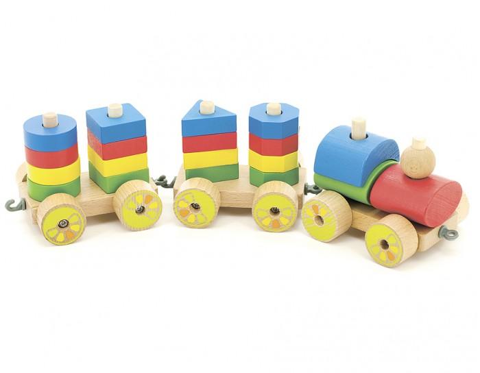 Деревянная игрушка МДИ ПаровозикПаровозикДеревянная игрушка МДИ Паровозик Д163   Представляет собой комбинацию, состоящую из паровозика с 2 платформами, на которых расположен набор из 4 разноцветных пирамидок (по 2 на каждой платформе), имеющих различную форму - круг, прямоугольник, треугольник, квадрат. Каждая пирамидка имеет различное количество штырьков, а составляющие ее детали - соответствующее количество дырочек. Собирая пирамидки, ребенок учится считать, знакомится с понятиями больше - меньше, ниже - выше, названиями и формами геометрических фигур, а также с основными цветами. К паровозику прикреплена веревочка, за которую получившийся поезд можно возить, что еще больше привлекает внимание ребенка.Развитие навыков: Игрушка способствует развитию у ребенка внимания, логического мышления, усидчивости, моторики пальчиков.<br>