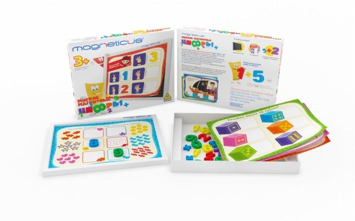 Magneticus Мягкие магнитныe цифрыМягкие магнитныe цифрыMagneticus Мягкие магнитныe цифры NUМ-002   Хотите начать изучать с ребёнком цифры и научить его считать? Магнитные цифры Magneticus мягкие в игровой форме познакомят малыша с цифрами и научит решать примеры. В набор входит 10 игровых заданий на карточках. Каждая цифра и знак на магнитах, их можно выкладывать не только на специальном поле, но и на магнитной доске или холодильнике. Все элементы созданы специально для маленьких ручек.<br>