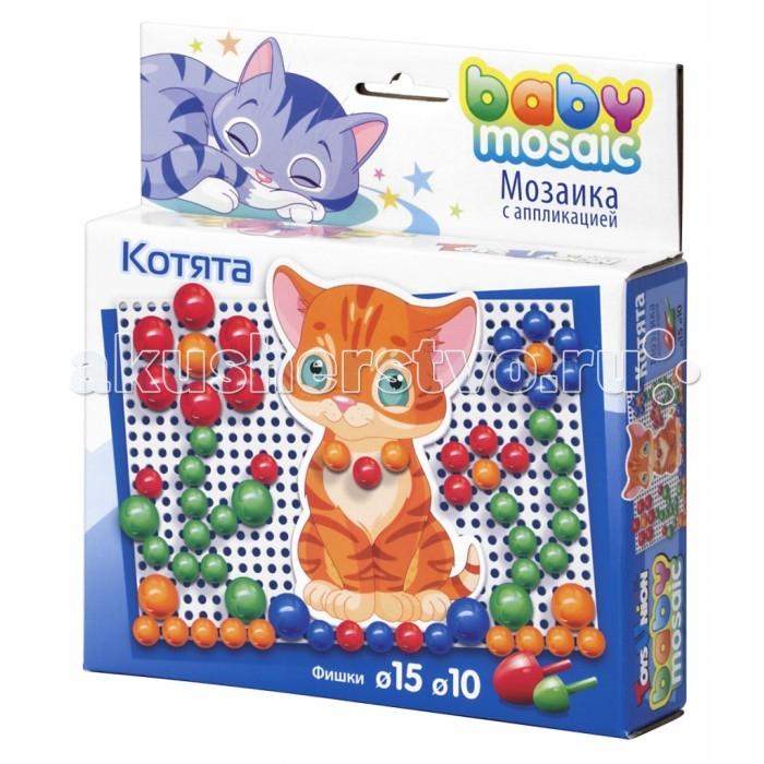 ToysUnion Мозаика КотятаМозаика КотятаToysUnion Котята 00-014  Мозаика с аппликацией Котята от торговой марки ToysUnion - это занимательная игра для детей самого малого возраста. Набор мозаики состоит из фишек двух размеров, игрового полотна и аппликаций с изображением котят. Эта настольная игра представляет собой технику мозаики с применением аппликации, что дает возможность разнообразить классическую версию игры. Аппликации плотно фиксируются на полотне при помощи фишек, не выпадают при перемещении собранной картины. Во время игры с мозаикой хорошо развиваются воображение, усидчивость, творческие способности ребенка.<br>