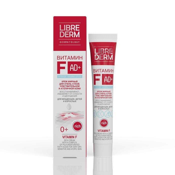 Librederm Витамин F крем полужирный 50 млВитамин F крем полужирный 50 млВитамин F крем полужирный 50 мл увлажняет, смягчает и успокаивает кожу, восстанавливает эластичность, предотвращает образование сухости и трещин, придавая коже мягкость и здоровый вид.   Крем содержит:  Витамин F (комплекс полиненасыщенных жирных кислот) эффективен при кожных раздражениях различного происхождения: шелушении, покраснении, трещинах, сухости. Ускоряет эпителизацию (заживление), оказывает мощное бактерицидное и антивоспалительное действие.   Масло персика — насыщает кожу витаминами, смягчает и увлажняет кожу. Обладает восстанавливающими свойствами, уменьшает зуд, успокаивает кожу.  Горофиты (высококонцентрированные экстракты) календулы и тысячелистника — усиливают противовоспалительное, заживляющее и антибактериальное действие крема.  Не содержит парабенов, синтетических отдушек и красителей.<br>