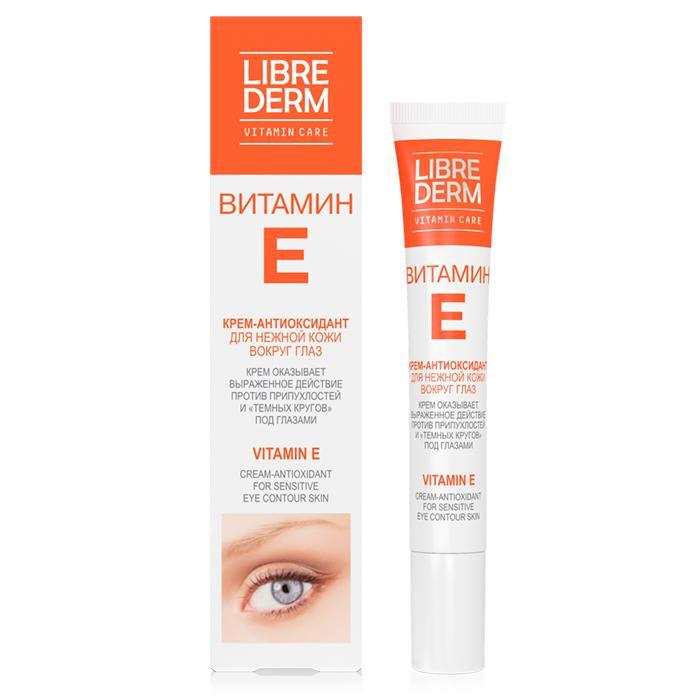 Librederm Витамин Е крем-антиоксидант для нежной кожи вокруг глаз 20 млВитамин Е крем-антиоксидант для нежной кожи вокруг глаз 20 млВитамин Е крем-антиоксидант для нежной кожи вокруг глаз 20 мл делает мимические морщинки менее заметными. Крем оказывает выраженное действие против припухлостей и «темных кругов» под глазами.  Активные компоненты:  Витамин Е (токоферол) – мощный антиоксидант, замедляющий процессы старения, обладает превосходными увлажняющими свойствами, поддерживая водно-липидный баланс. Способствует быстрой регенерации и обновлению клеток. Помогает защитить кожу от вредного воздействия ультрафиолетовых лучей.  Троксерутин – биофлавоноид, самый стабильный природный антиоксидант, активно действует против образования припухлостей и «темных кругов» под глазами.  Масло рыжика – природный питательный компонент, на 60% состоящий из полиненасыщенных жирных кислот. Обладает трансдермальными свойствами, позволяющими обеспечить проникновение всех активных компонентов крема в глубокие слои кожи, что значительно усиливает эффективность крема.<br>