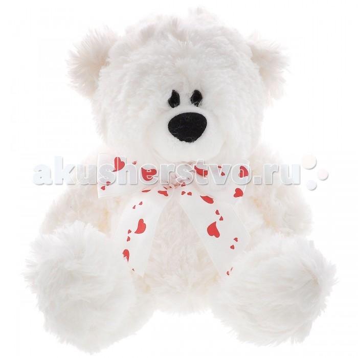 Мягкая игрушка Plush Apple Медведь с лентой 21 смМедведь с лентой 21 смМедведь с лентой 21 см.  Наш Мишка имеет небольшой размер. На шее у него повязан очаровательный бантик с сердечками. У игрушки мягкая пушистая шерстка белого цвета.   Такую игрушку хочется обнять и больше не выпускать из рук. Рядом с ней ребенок будет чувствовать тепло и защищенность. Этот небольшой друг всегда выслушает тайны и переживания малыша.   Мишка может составить компанию и дома, и на прогулке, и даже в постели, когда ребенок ложится спать.   Мягкая игрушка Мишка с ленто выполнена из гипаллергенного текстиля.  Внутри игрушка набита синтепоном.<br>