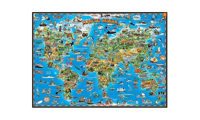 Геоцентр Детская карта мира настольнаяДетская карта мира настольнаяГеоцентр Детская карта мира настольная.  Детская карта мира познакомит юных читателей с животными всего мира – млекопитающими, рыбами, птицами и пресмыкающимися. Карта содержит не только иллюстрации, но и множество дополнительной информации: она рассказывает о размерах животных, особенностях их питания, образе жизни, способах размножения.   В карте также приведена классификация животных. Яркие и весёлые иллюстрации притягивают внимание; рассматривая их, ребёнок узнает, какие животные живут в разных частях света, как они называются и чем отличаются друг от друга. Ламинация — глянцевая.<br>