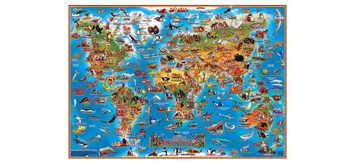 Геоцентр Детская карта мира Животные настольнаяДетская карта мира Животные настольнаяГеоцентр Детская карта мира Животные настольная.  Настольная карта мира для детей с животными позволит ребенку изучать замечательный мир живых существ, не вставая со своего рабочего места. Жесткая непроницаемая пленка сохранит карту в первозданном виде. Пролитый сок и вода не повредят красочный рисунок.   Используйте карту в качестве подставки на обеденном столе, и тогда ребенок будет с интересом рассматривать яркие иллюстрации во время еды. Кроме того, все углы закруглены, что не даст ребенку пораниться. Карта порадует вас подробной информацией о млекопитающих, рыбах, птицах и пресмыкающихся из разных стран мира, а яркие иллюстрации будут притягивать внимание ребенка. Так он научится различать живых существ и узнает кто где живет.<br>
