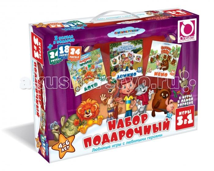 Origami СМФ Подарочный набор 3 в 1 11701СМФ Подарочный набор 3 в 1 11701Origami СМФ Подарочный набор 3 в 1 11701.Подарочный набор: Лото Львенок и Черепаха, Мемо Винни Пух, Домино + 3 мини пазла, 3 игры в одной коробке.   Отличный подарок непоседливому ребёнку и возможность тренировать усидчивость в форме нескучных игр. Любимые игры с любимыми героями мультфильмов.   Размер пазлов 15,3 х 7,8 см, 15 х 9,8 см, 13 х 18 см<br>