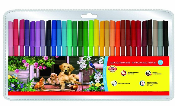 Фломастеры Koh-i-Noor Набор школьных фломастеров Домашние животные, 30 цветов