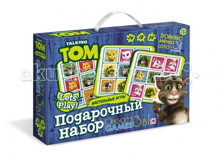 Origami TF Подарочный набор 3 в 1TF Подарочный набор 3 в 1Origami TF Подарочный набор 3 в 1. Подарочный набор: Лото, Мемо, Домино + 3 мини-пазла. Отличный подарок непоседливому ребёнку и возможность тренировать усидчивость в форме нескучных игр. А красочное офорление игр познакомит ребёнка с котом Томом, его друзьями и их весёлыми историями.  Размер пазлов 15,3 х 7,8 см, 15 х 9,8 см<br>
