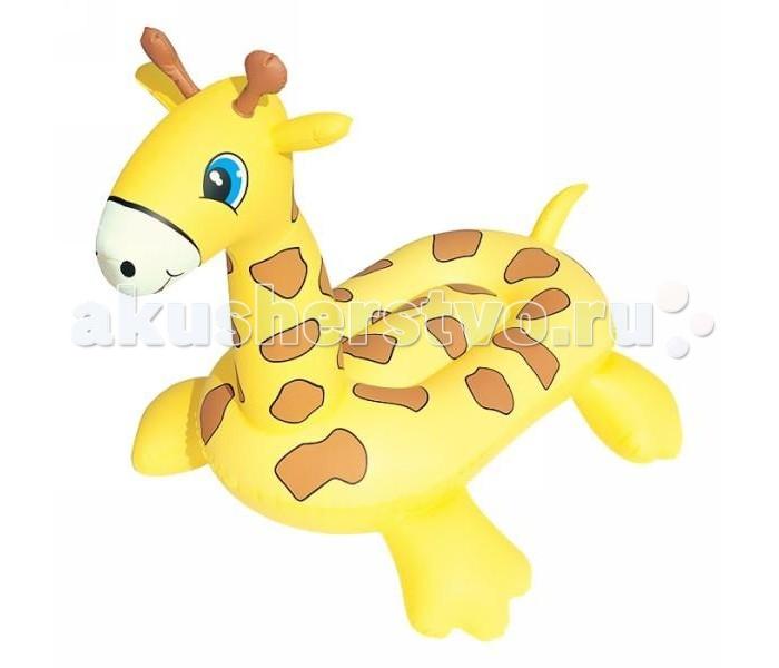 Bestway Жираф надувнойЖираф надувнойBestwey Жираф надувной оформлен в виде симпатичной зверушки.   Надувные круги изготовлены из высокопрочного винила. Такой надувной круг  станет незаменимым атрибутом летнего отдыха. Он отлично подойдет для детских игр  в воде!   Размер: 109х71х79 см<br>