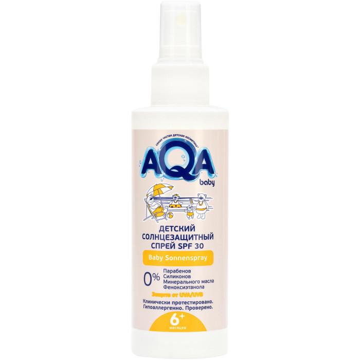 AQA baby Солнцезащитный спрей SPF 30 150 млСолнцезащитный спрей SPF 30 150 млAQA baby Солнцезащитный спрей SPF 30 150 мл надежно защищает нежную кожу самых маленьких детей от воздействия солнечных лучей.  Формула Homeostatic Sun Protection обеспечивает: улучшенный биосинтез витамина D двойную защиту от UVA- лучей профилактику старения кожи. Особенности: легко наносится и быстро впитывается, не оставляя ощущения липкости содержит пантенол, который увлажняет кожу и препятствует сухости и шелушению водостойкий SPF 30 - высокий фактор защиты от UV-B лучей не содержит красителей, отдушек и консервантов соответствует европейским стандартам подходит для детей с 6 месяцев. Применение: за 30 минут до выхода на улицу нанести в большом количестве. После водных процедур, игр в песке, обтираний полотенцем наносите повторно.  Объём: 150 мл<br>