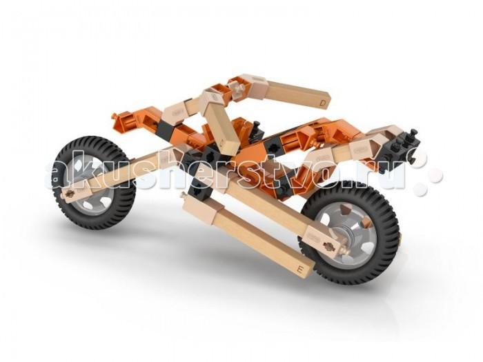 Конструктор Engino Eco Builds Мотоциклы 3 в 1Eco Builds Мотоциклы 3 в 1Engino Eco Builds Мотоциклы 3 в 1.  Инновационная разработка Engino — гибридные конструкторы, которые сочетают детали из пластика и дерева. Благодаря уникальной технологии деревянные и пластиковые элементы соединяются без клея или дополнительного крепежа.  Серия Eco Builds объеденяет в себе тепло и экологичность дерева и широкие возможности пластиковых сборочных систем. В комплекте инструкция для сборки 3 моделей мотоциклов.<br>